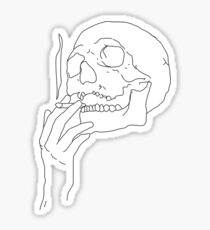 a skull smoking cigarette Sticker