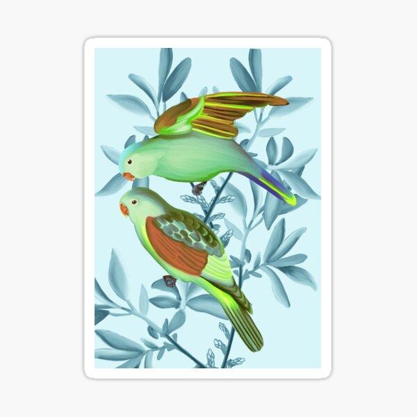 Bird Friends on a blue background Sticker