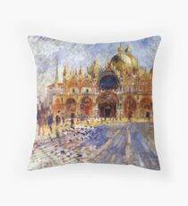 5 Piazza San Marco in Venice by Pierre Auguste Renoir Throw Pillow