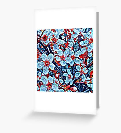Red and turquoise flowers Greeting Card