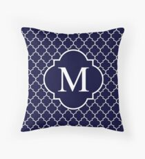 Navy Blue Quatrefoil White Monogram M Throw Pillow