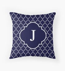 Navy Blue Quatrefoil White Monogram J Throw Pillow