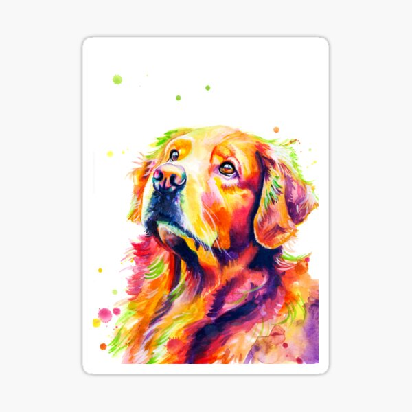 Rainbow Watercolor Golden Retriever Sticker