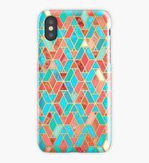 Melon and Aqua Geometric Tile Pattern iPhone Case/Skin