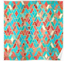 Quot Melon And Aqua Geometric Tile Pattern Quot By Micklyn Redbubble
