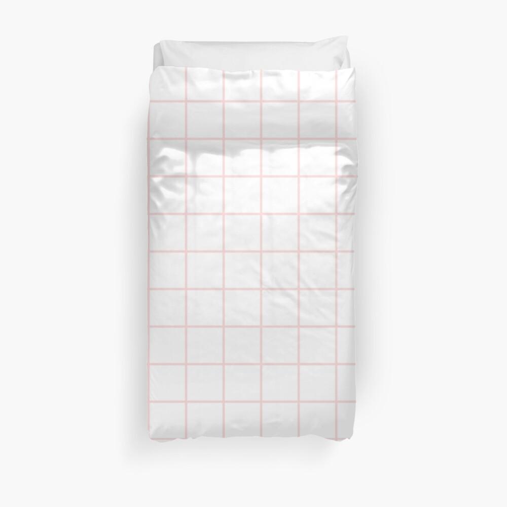 pink grid Duvet Cover