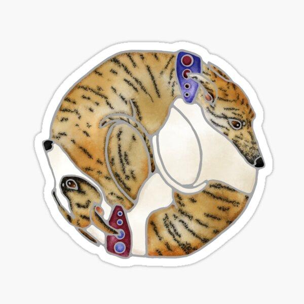 Brindle Yin Yang Whippets Sticker