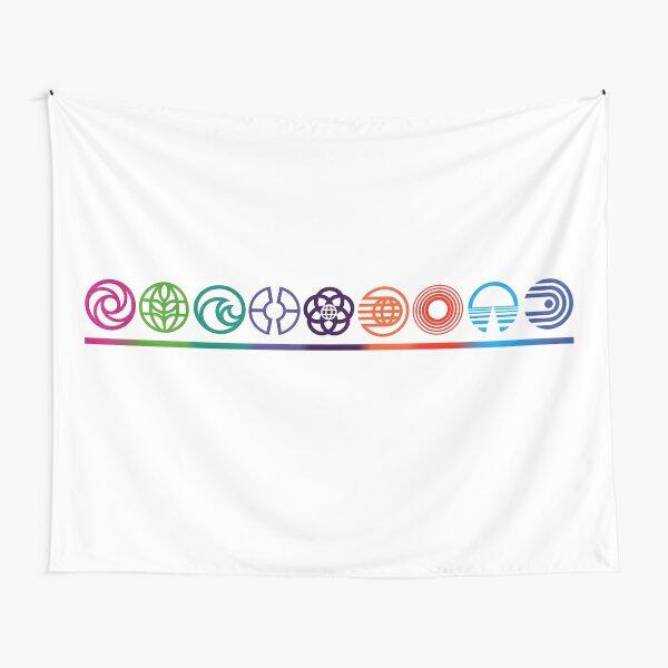 EPCOT Center Retro Future World Pavilion Logos Tapestry