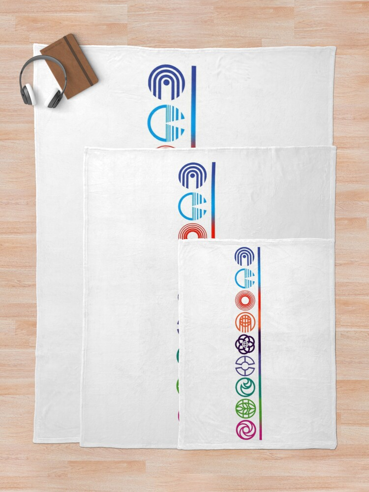 Alternate view of EPCOT Center Retro Future World Pavilion Logos Throw Blanket