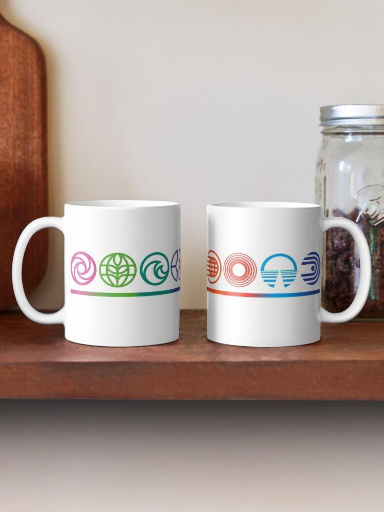 Alternate view of EPCOT Center Retro Future World Pavilion Logos Mug