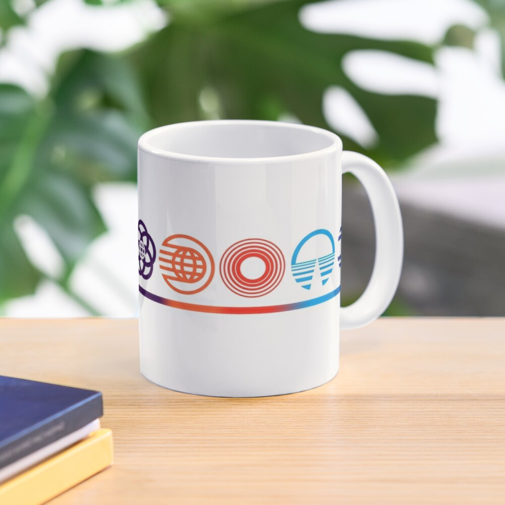 EPCOT Center Retro Future World Pavilion Logos Mug