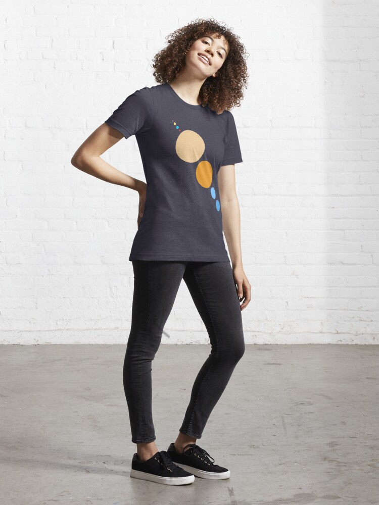Alternate view of Planets To Scale (diagonal) Essential T-Shirt