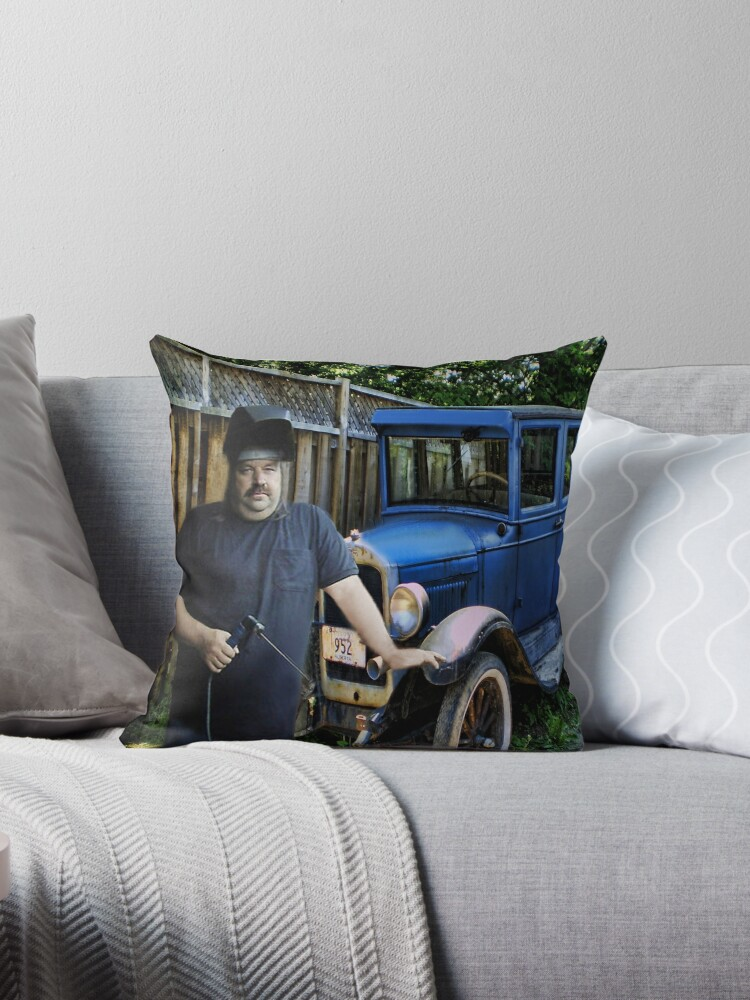 A SURPRISE BIRTHDAY GIFT I MADE FOR MY BROTHER LEO..of his..1926 Ford Chevy Model T Coupe Throw Pillow by ✿✿ Bonita ✿✿ ђєℓℓσ