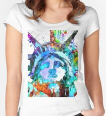 Statue of Liberty Grunge Women's Fitted Scoop T-Shirt