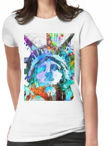 Statue of Liberty Grunge Womens Fitted T-Shirt