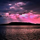 Pink Crepuscular Rays Ocean Sunrise with Water Reflections. by sunnypicsoz
