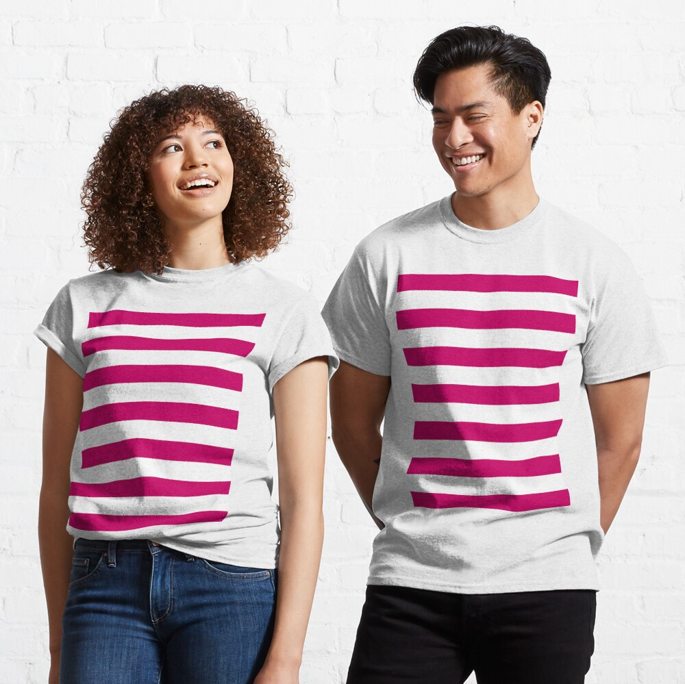 Dark Pink and White Stripes Classic T-Shirt