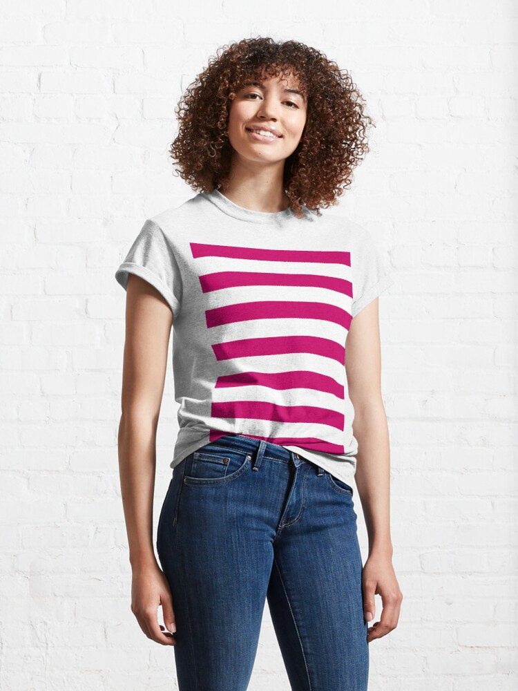 Alternate view of Dark Pink and White Stripes Classic T-Shirt