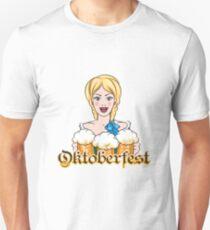 Girl with Beer Mugs Emblem T-Shirt