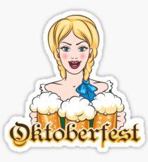 Girl with Beer Mugs Emblem Sticker