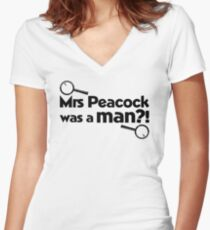 Mrs Peacock Was A Man?! Clue inspired fun! Women's Fitted V-Neck T-Shirt
