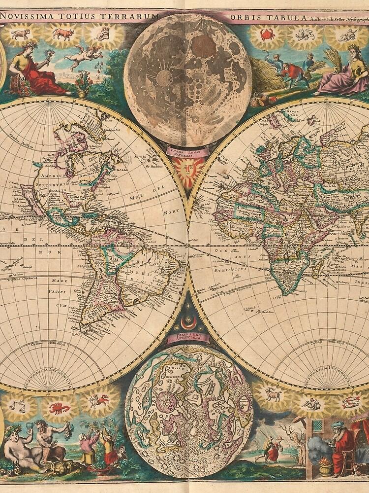 Vintage Map of The World (1672) 2 by BravuraMedia