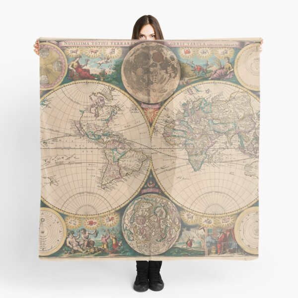 Vintage Map of The World (1672) 2 Scarf