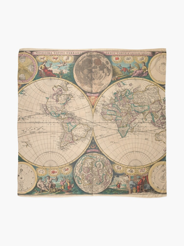 Alternate view of Vintage Map of The World (1672) 2 Scarf