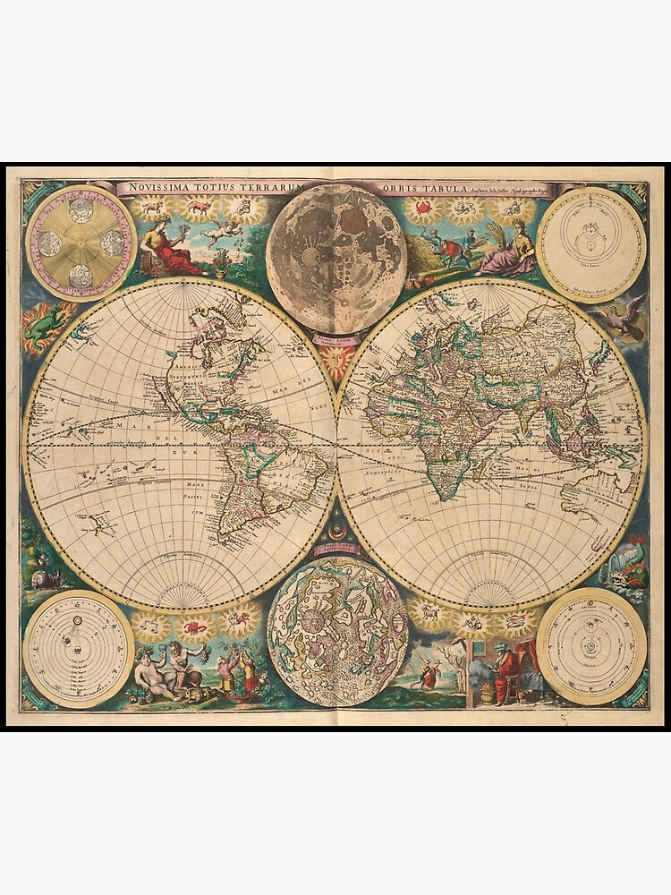 Vintage Map of The World (1672) 2 by BravuraMedia