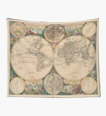 Vintage Map of The World (1672) 2 Tapestry