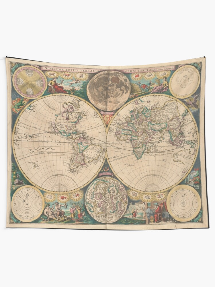 Alternate view of Vintage Map of The World (1672) 2 Tapestry