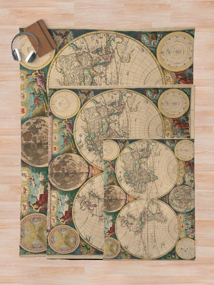 Alternate view of Vintage Map of The World (1672) 2 Throw Blanket