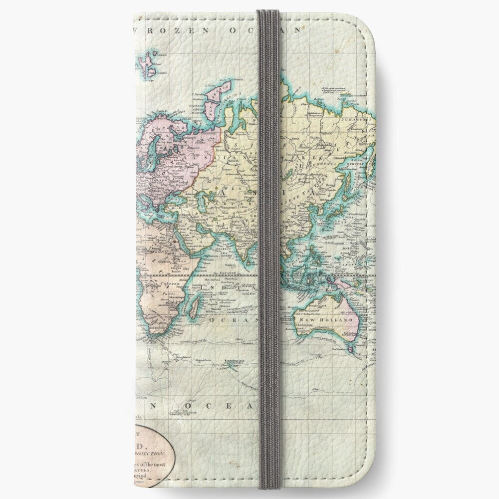 Vintage Map of The World (1801) iPhone Wallet
