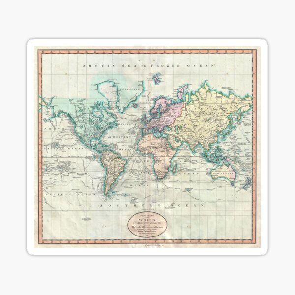 Vintage Map of The World (1801) Sticker