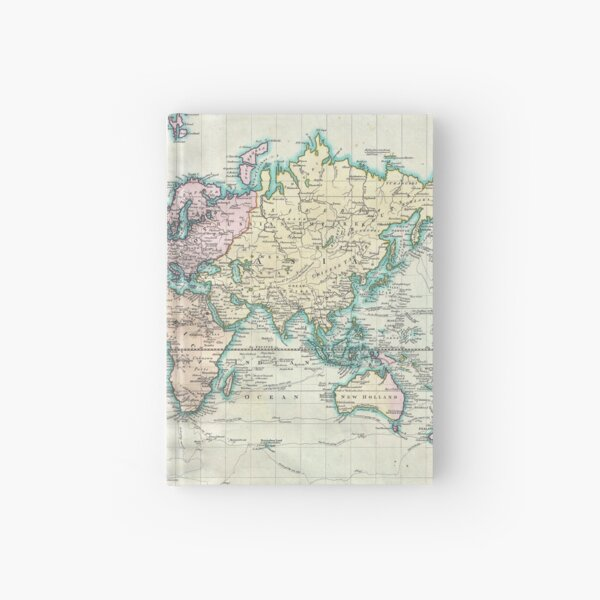 Vintage Map of The World (1801) Hardcover Journal