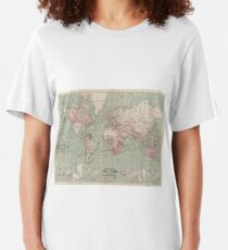 Vintage Map of The World (1918)  Slim Fit T-Shirt