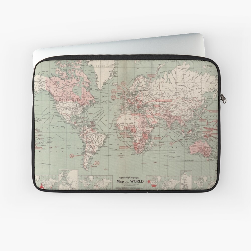 Vintage Map of The World (1918)  Laptop Sleeve