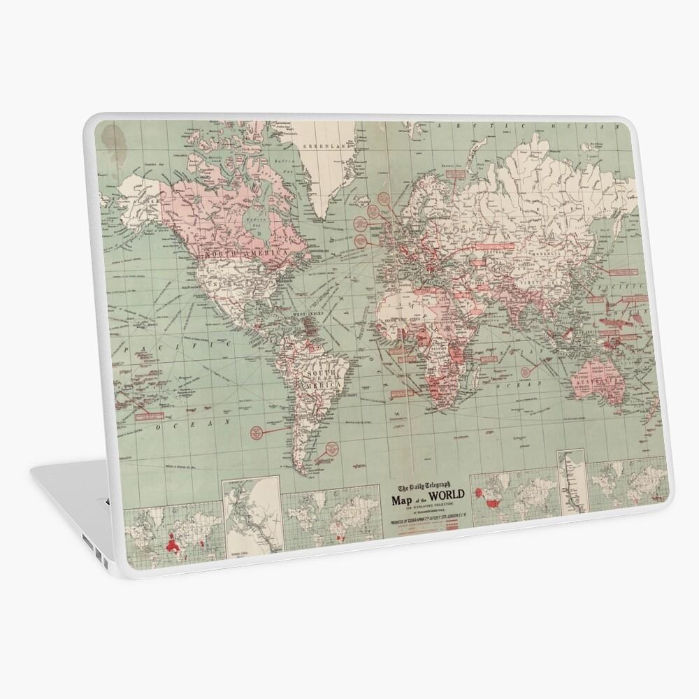 Vintage Map of The World (1918)  Laptop Skin
