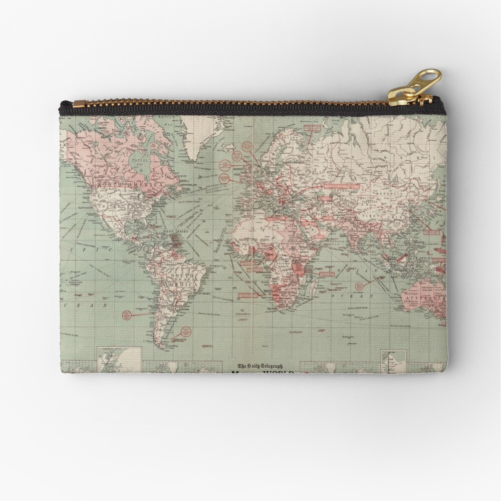 Vintage Map of The World (1918)  Zipper Pouch