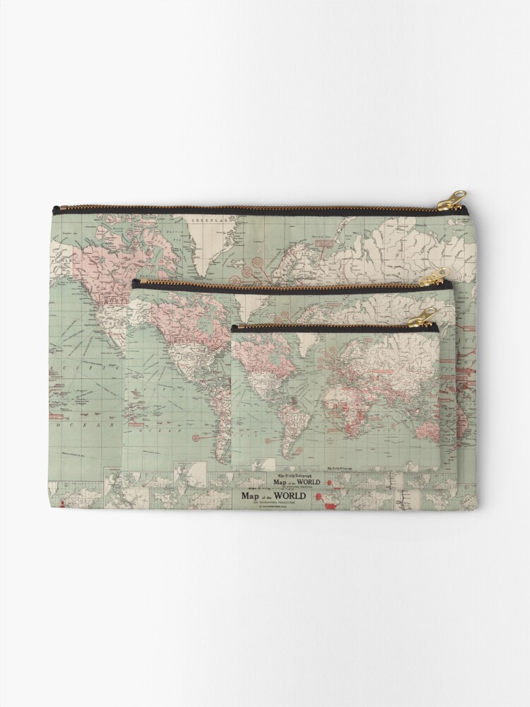 Alternate view of Vintage Map of The World (1918)  Zipper Pouch