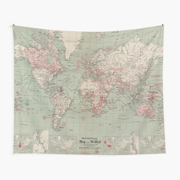 Vintage Map of The World (1918)  Tapestry