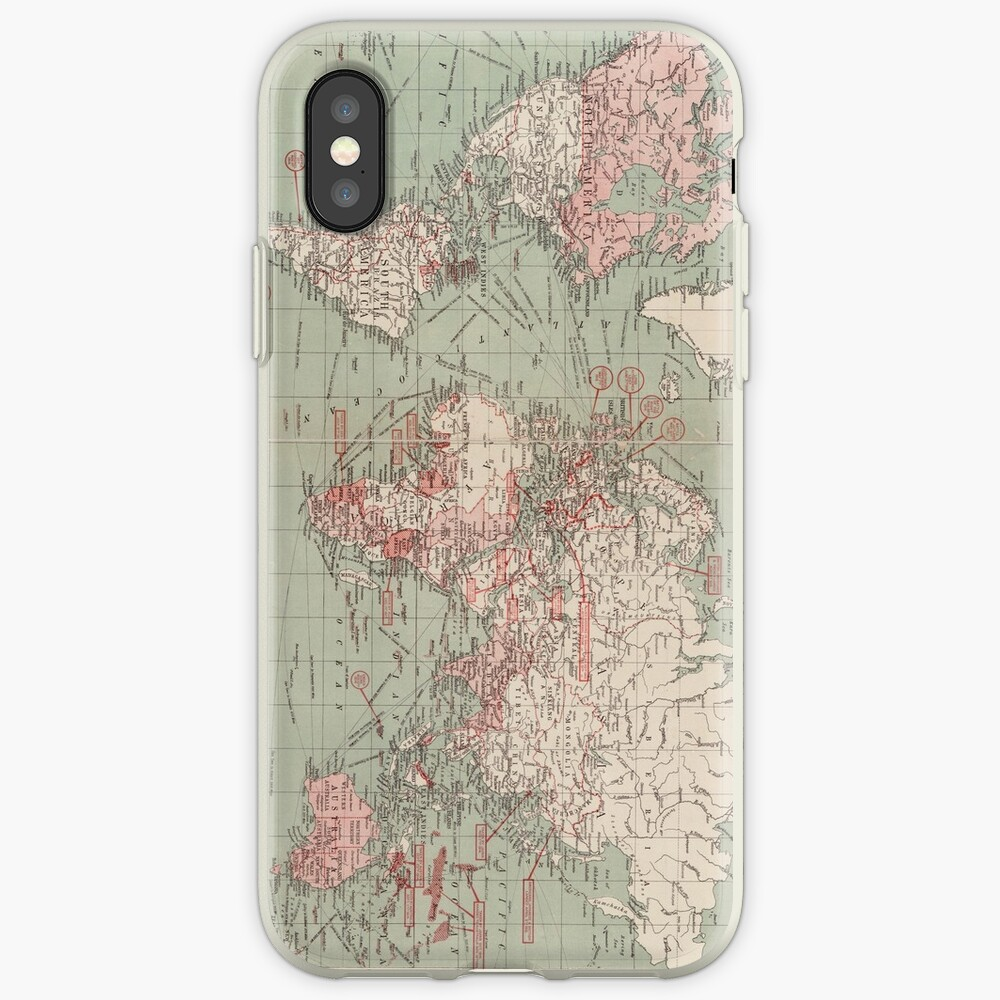 Vintage Map of The World (1918)  iPhone Case & Cover