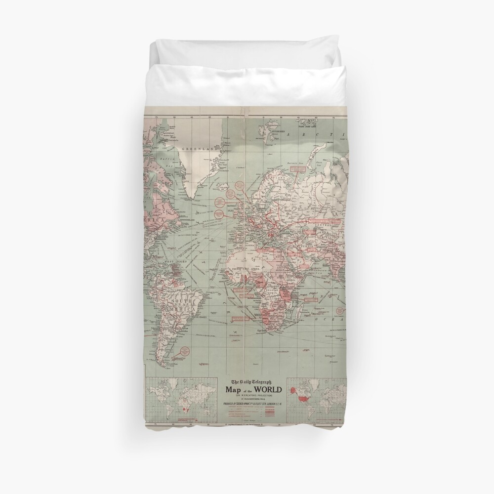 Vintage Map of The World (1918)  Duvet Cover