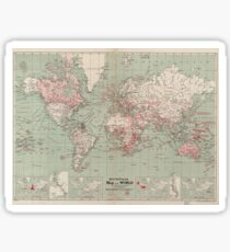 Vintage Map of The World (1918)  Sticker