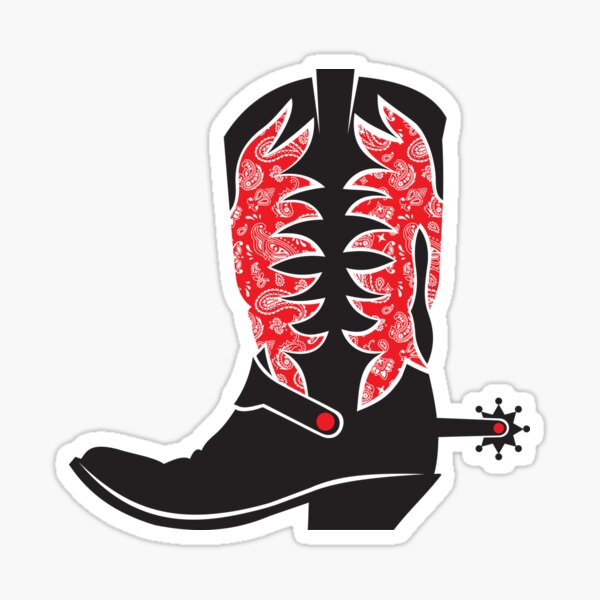 Cowboy Boot with Western Red Bandana Sticker