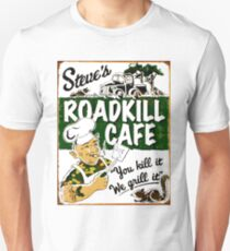 """STEVE'S ROADKILL CAFE"" Vintage Advertising Print  T-Shirt"