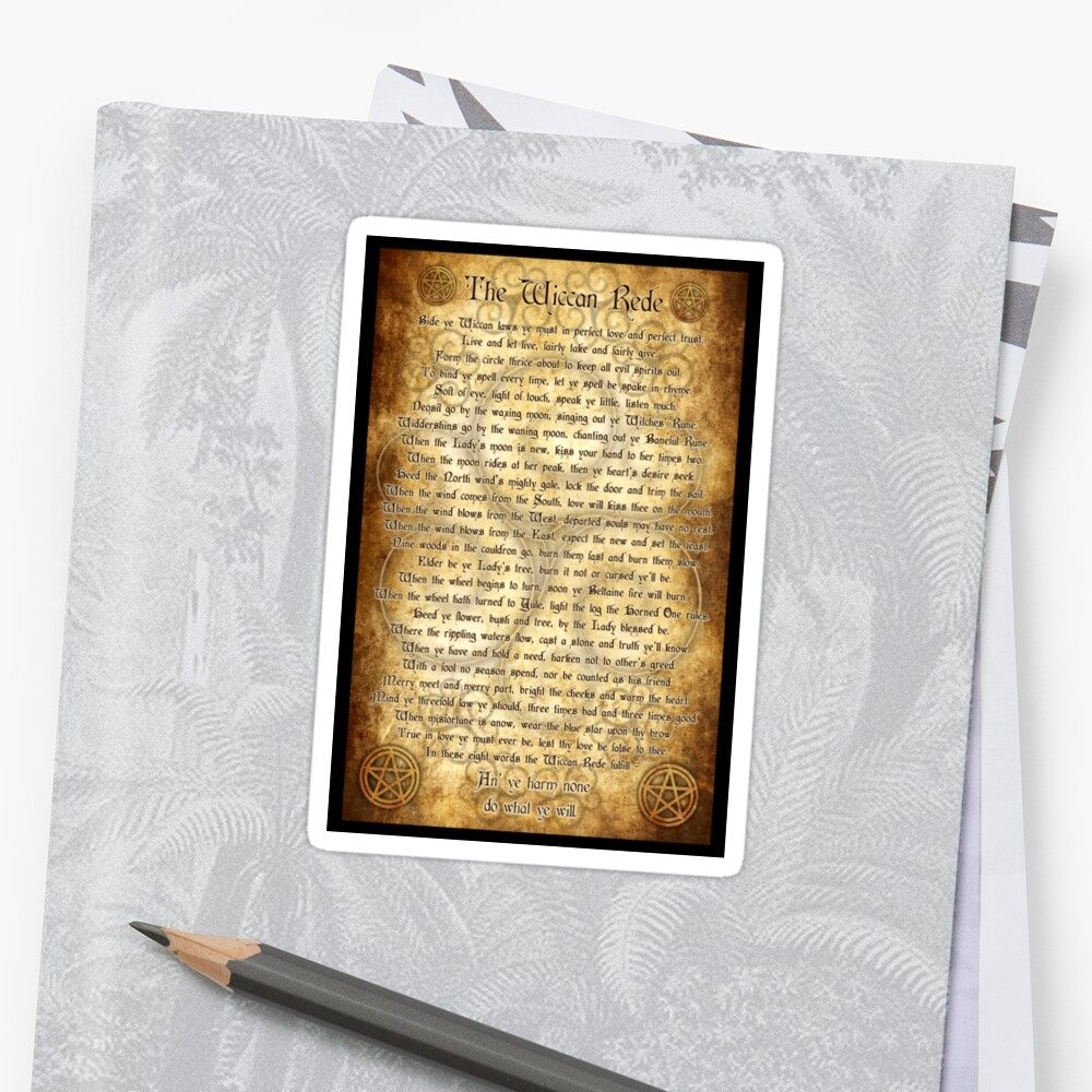 Wiccan Rede with Parchment Background\
