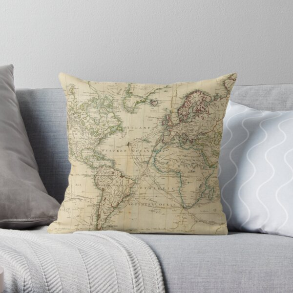 Vintage Map of The World (1800) Throw Pillow