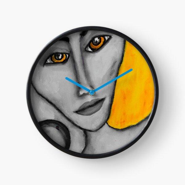 Grey Faced Girl Clock