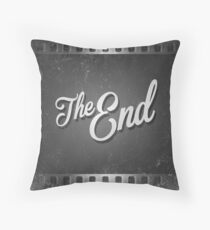 The End Vintage Film Frame Throw Pillow
